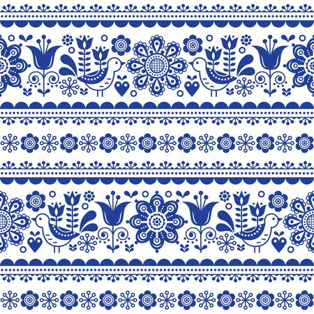 Scandinavian seamless vector pattern with flowers and birds, folk art nouveau repetitive navy blue ornament