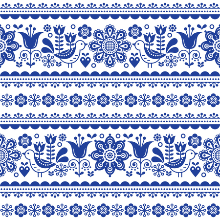 Scandinavian seamless vector pattern with flowers and birds, folk art nouveau repetitive navy blue ornament