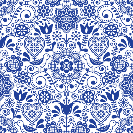 Seamless folk art pattern with birds and flowers, Scandinavian navy blue repetitive floral design Ilustração