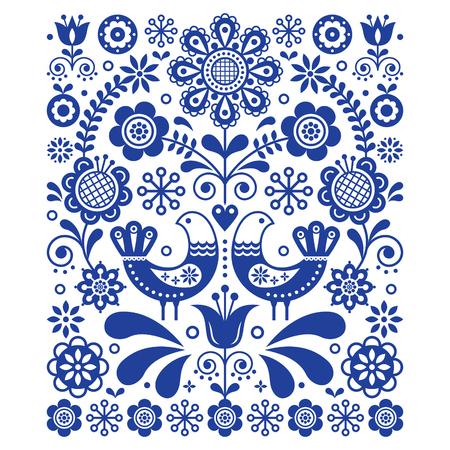 Skandinavische nette Volkskunstvektordekoration mit Vögeln und Blumen. Skandinavisches Marineblau-Blumenmuster.