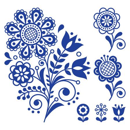 Floral vector design, folk art ornament with flowers, Scandinavian navy blue pattern.