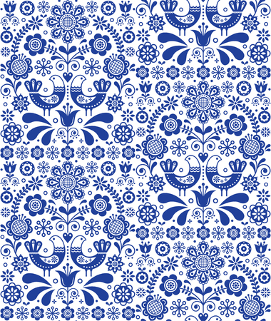 Scandinavian seamless folk art vector pattern, floral repetitive background with birds and flowers, navy blue ornament