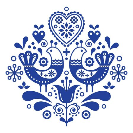 Scandinavian folk art pattern with birds and flowers