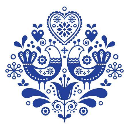 새와 꽃으로 스칸디나비아 민속 예술 패턴