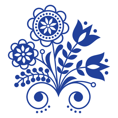 Scandinavian folk art ornament with flowers, Nordic floral design, retro background in navy blue Vectores