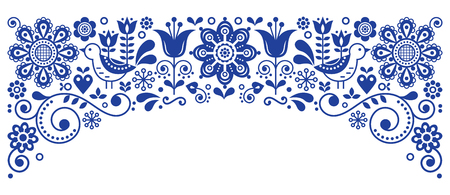 Scandinavian folk art frame border retro vector greeting card design, floral navy blue ornament with birs and flowers