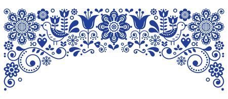 Scandinavian folk art frame border retro vector greeting card design, floral navy blue ornament with birs and flowers