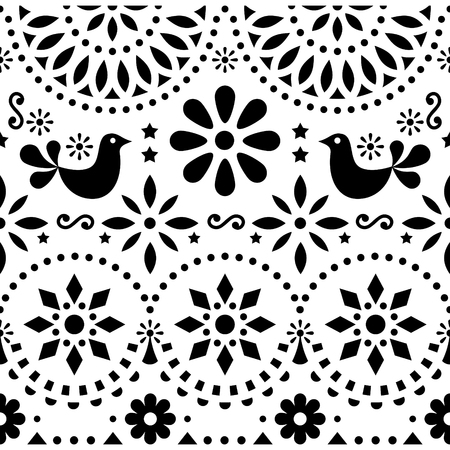 Mexican folk art vector seamless pattern with birds and flowers, black and white Illustration