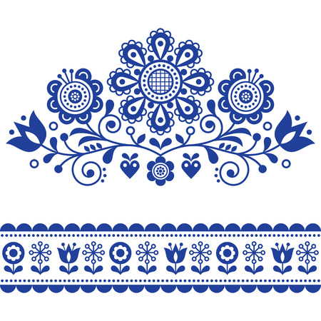 Scandinavian vector folk art pattern with flowers, traditional floral frame or border design.