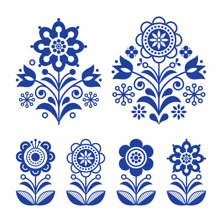 Scandinavian flowers design, folk art decoration with flowers, Nordic retro background in navy blue. Illustration