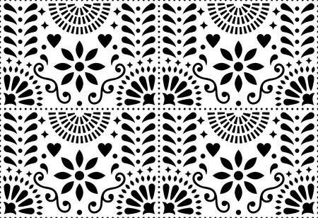Folk art vector seamless pattern, Mexican black and white design Illustration