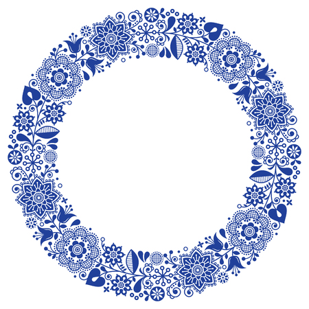 Folk art floral werteth, vector ornamental round frame, Scandinavian design with flowers in circle, ethnic composition