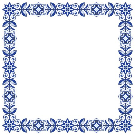 Scandinavian folk art vector frame, cute floral border, square pattern with navy blue flowers - invitation, greetings card