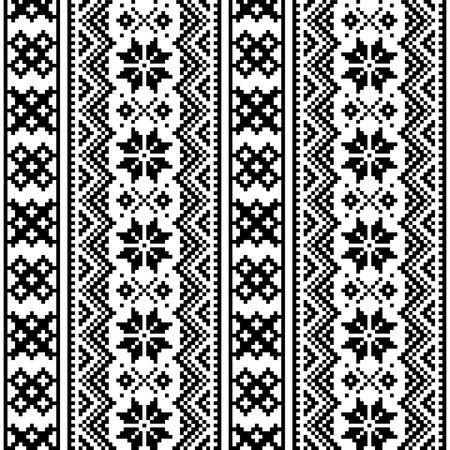 Lapland seamless vector pattern, Scandinavian folk art design, Sami cross stitch monochrome background Vettoriali