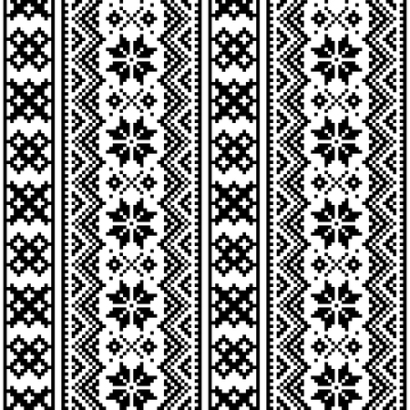 Lapland seamless vector pattern, Scandinavian folk art design, Sami cross stitch monochrome background Illustration