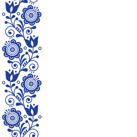 Scandinavian greeting card design, folk art retro vector design, ornament with flowers in navy blue - vertical stripe or border.