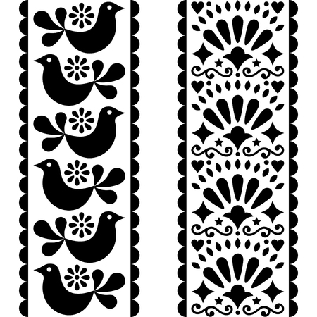 Folk art seamless pattern - Seamless pattern with birds and flowers in black and white.