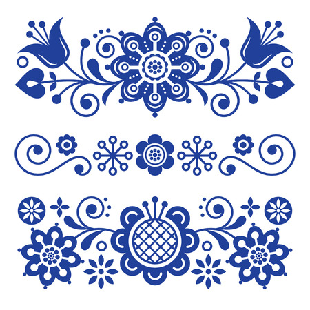 Floral folk art greeting card, design elements, Scandinavian style decor with flowers and leaves, retro navy blue floral arrangements.