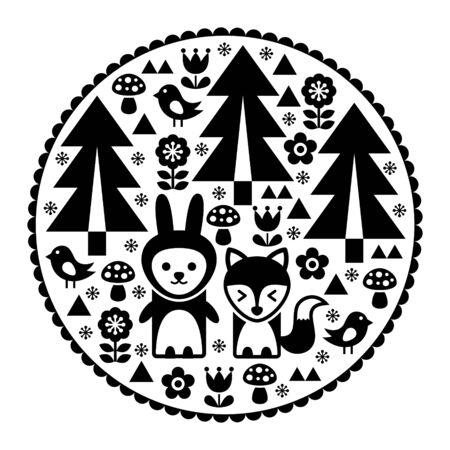 Nature and animals on circular design illustration Illustration