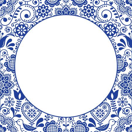 스칸디나비아 민속 심장 디자인 인사말 카드, 네이비 블루와 화이트의 벡터 일러스트 레이 션