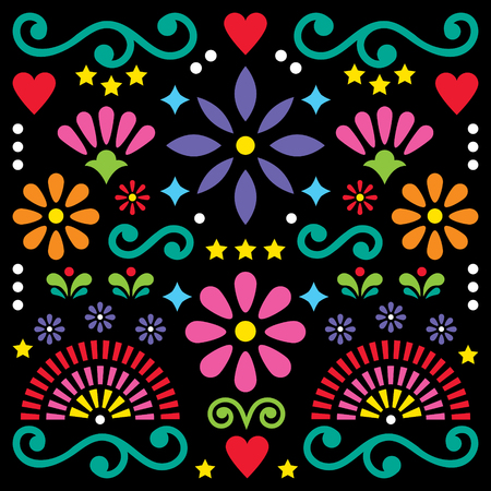 Mexican folk art vector pattern, colorful design with floral greeting card.