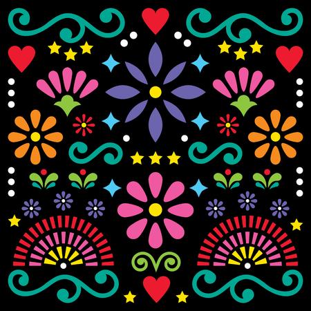 メキシコの民芸画ベクトルパターン、花のグリーティングカードとカラフルなデザイン。  イラスト・ベクター素材