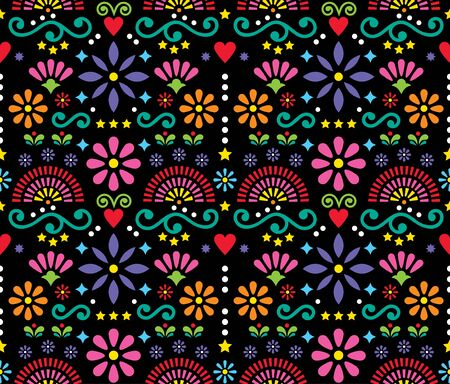 Mexican folk art seamless vector pattern, colorful design with flowers Illustration