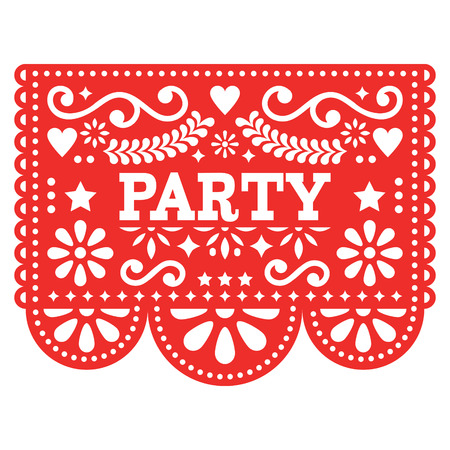 Mexican party Papel Picado vector design in red - fiesta garland paper cut out with flowers and geometric shapes