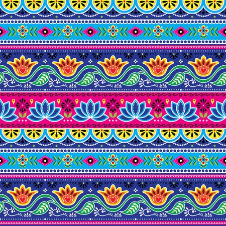 Nahtloses Muster des pakistanischen LKW-Kunstvektors, indisches LKW-Blumenmuster mit Lotosblume, Blätter und abstrakte Formen