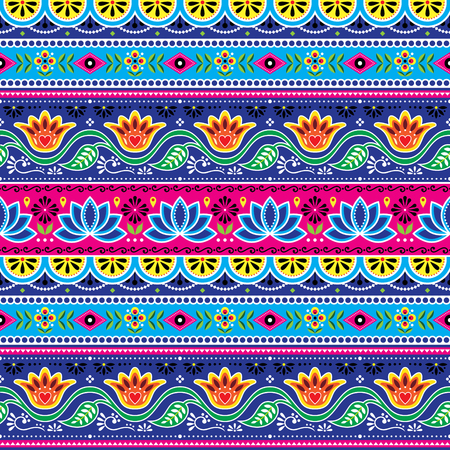 Pakistani truck art vector seamless pattern, Indian truck floral design with lotus flower, leaves and abstract shapes