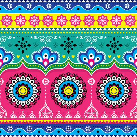 Indian and Pakistani truck art design, Jingle trucks seamless vector pattern, colorful floral repetitive decoration