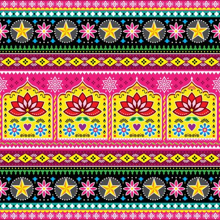 インドのトラックアート花のシームレスな民俗アートパターン、パキスタンジングルトラックベクターデザイン、蓮の花と抽象的な形状と鮮やかな