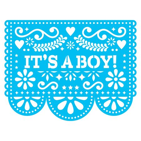 Its a boy Papel Picado vector design - Mexican folk art baby birth greeting card or baby shower invitation. Baby arrival decoration in blue Illustration