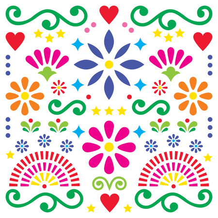 Mexican folk art vector pattern, colorful design with flowers greeting card inspired by traditional designs from Mexico Illustration