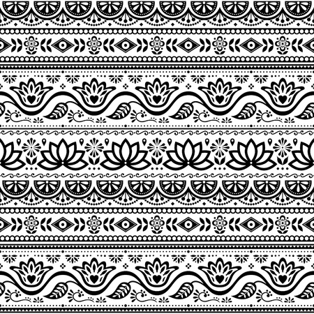 Pakistani truck art vector seamless pattern, Indian truck floral black and white design with lotus flower, leaves and abstract shapes