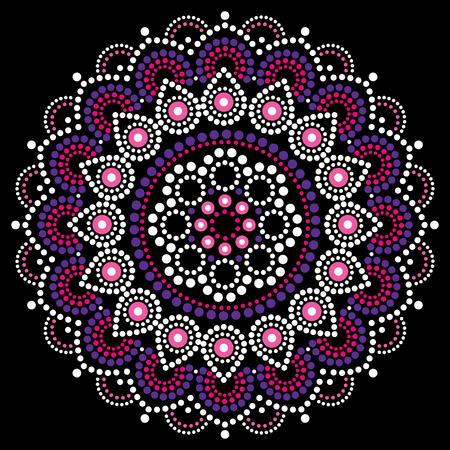 Mandala dot painting vector design, Aboriginal style, Australian folk art boho ornament in pink and purple