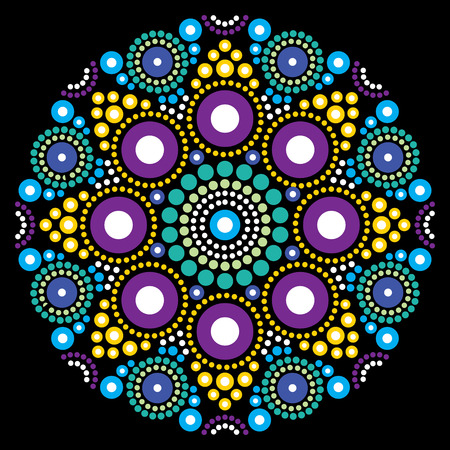 Mandala vector art, Australian dot painting decorative design, Aboriginal folk art bohemian style