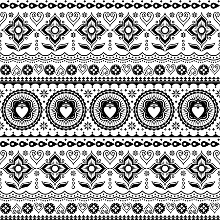 Indian trucks art seamless vector pattern, Pakistani monochrome truck floral design with lotus flower, leaves and abstract shapes