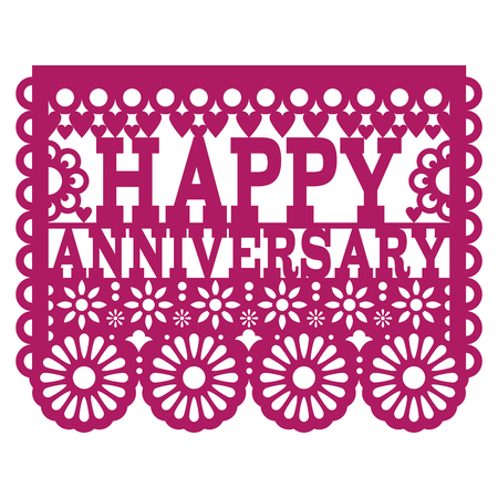 Happy Anniversary Papel Picado vector design - purple greeting card, Mexican folk art paper banner