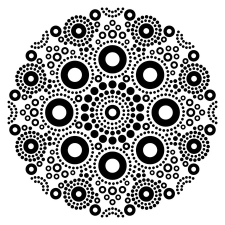 Mandala black and white vector art, Australian dot painting decorative design, Aboriginal folk art bohemian style