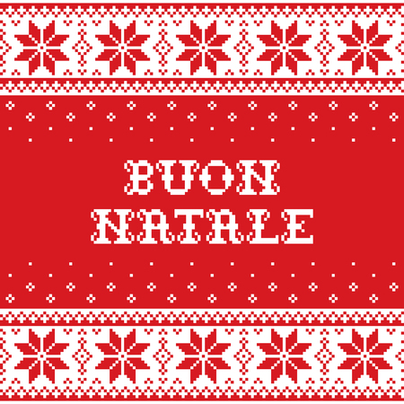 Boun Natale - Merry Christmas in Italian traditional seamless vector pattern or greeting card - Scandinavian knnitting, cross-stitch style   Nordic retro Xmas repetitive background in red and white wi  イラスト・ベクター素材