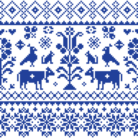 Cross stitch vector seamless folk art pattern - repetitive background inspired Swiss old style retro embroidery with flowers and animals