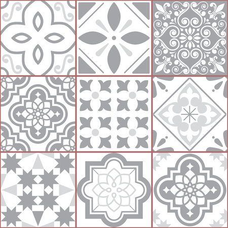 Vector tiles design, Azulejo seamless pattern, abstract and floral decoration inspired by tranditional tile art from Portugal and Spain Illustration