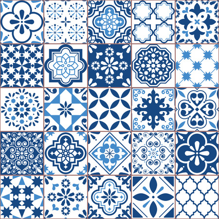 Lisbon geometric Azulejo tile vector pattern, Portuguese or Spanish retro old tiles mosaic, Mediterranean seamless navy blue design 免版税图像 - 111411452