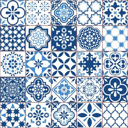 Modello vettoriale di piastrelle Azulejo geometriche di Lisbona, mosaico di piastrelle antiche retrò portoghese o spagnolo, design blu navy senza soluzione di continuità mediterranea