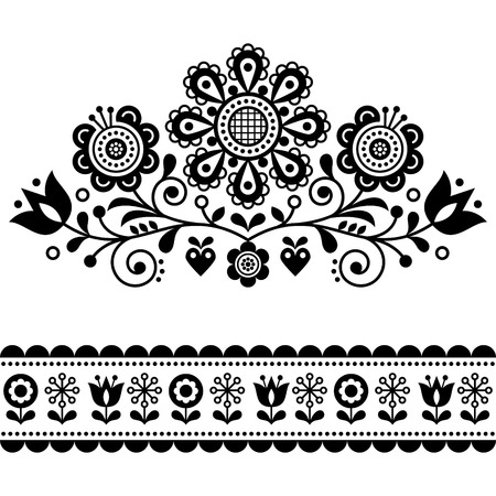 Scandinavian vector folk art pattern with flowers, traditional floral frame or border black and white design Illusztráció