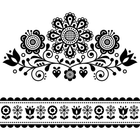 Scandinavian vector folk art pattern with flowers, traditional floral frame or border black and white design Illustration