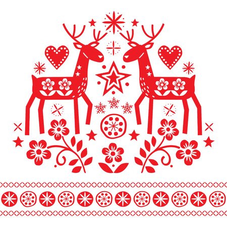 Christmas vector design with reindeer, flowers, Scandinavian folk art pattern in red on white background - Merry Christmas decoration
