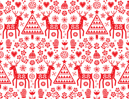 Christmas folk art vector seamless pattern with reindeer, flowers, Xmas tree and winter clothes design in red on white background - Merry Christmas ornament Иллюстрация