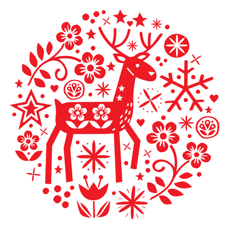 Christmas vector round design with reindeer, flowers, cute Scandinavian folk art pattern in red on white background - Merry Christmas decoration Ilustração